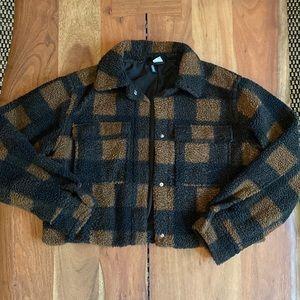 H&M Plaid Faux Shearling Jacket